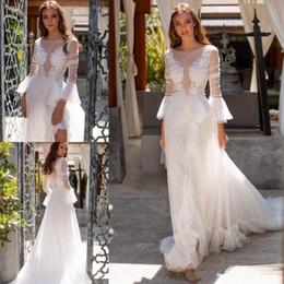 $enCountryForm.capitalKeyWord NZ - Fairy Lace Tulle Boho Wedding Dresses with Long Sleeve 2019 Bateau Neck Summer Holiday Beach Seaside Bridal Dress Wedding Gown