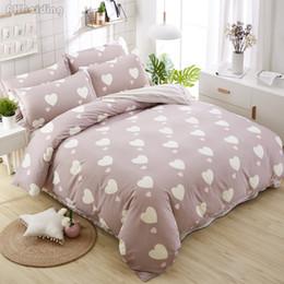 pink brown bedding for adults 2019 - Home Textile Plain Love Pattern Bedding Set Cotton Bed Linen for Adult children Gift Bedclothes Duvet Cover Bed Sheet Pi