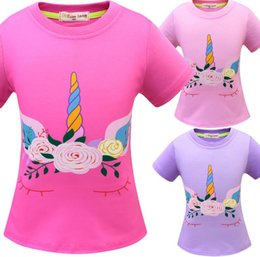 $enCountryForm.capitalKeyWord Australia - Unicorn T-shirt Short Sleeves Tee Shirt Tops round Neck cartoon 3d printed T-shirt children's 3-8T home casual clothes