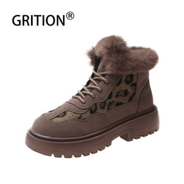 Big ladys online shopping - GRITION Women Winter Boots Leopard Spot Platform Mid Heel Shoes High Top Fur Ladys Warm Snow Shoes For Slim Legs Big Size