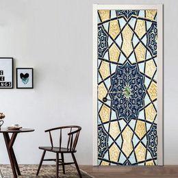 $enCountryForm.capitalKeyWord Australia - 2Pcs Set Creative Islamic Patterns Door Decal Large Size Window Vinyl Sticker Self-Adhesive Wallpaper Home Decoration