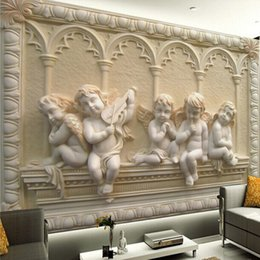Wholesale Custom Any Size D Wall Mural Wallpaper D Stereoscopic Angel Carving Relief Living Room Sofa Backdrop Seamless Mural Wall Paper