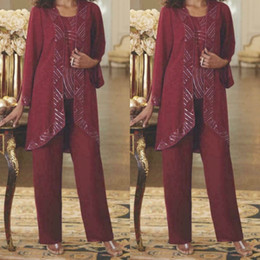 Champagne long sleeve Chiffon gown online shopping - Burgundy Chiffon Mother Of The Bride Pant Suits With Jacket Beaded Wedding Guest Dress Floor Length Plus Size Evening Gowns