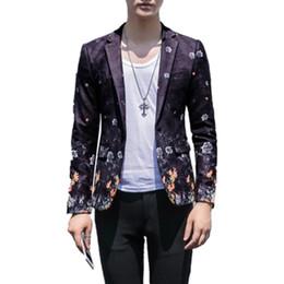 $enCountryForm.capitalKeyWord Australia - Luxury Man Blazer Casual Suit Jacket Slim Fit Party Wedding Coat Flower Printing Pattern Americana Hombre Male Suits Clothing