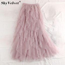 f4085f58d9 Sweet Ruffled Irregular Maxi Long Tulle Skirts Fairy A-line Pleated Tiered Layered  Skirt Flounced Long Tutu Mesh Skirt