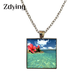 $enCountryForm.capitalKeyWord Australia - ZDYING Square Shape Pendant Necklace Glass Sea Beach Tree Photo Cabochon Necklaces For Woman Men Choker DIY Jewelry TL014
