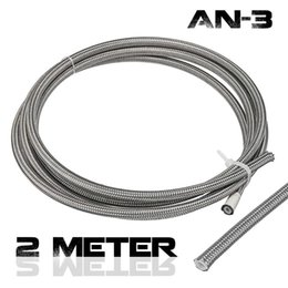 braided fuel hose Australia - 2m AN3 Braided Stainless Steel 3AN AN3 AN-3 Brake Hose PTEF Hydraulic Brake Fuel Line Hose