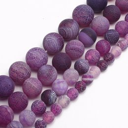 $enCountryForm.capitalKeyWord NZ - ashion Jewelry Beads wholesale Purple Frosted Agates Onyx Round Loose Beads For Jewelry Making 15 inch Pick Size 6 8 10 12 14 mm Diy Brac...