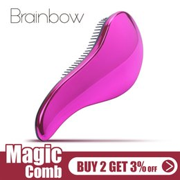 $enCountryForm.capitalKeyWord NZ - tyling Tools Combs Brainbow 1pc Magic Anti-static Hair Brush Handle Plastic Electroplate Comb Shower Shampoo Massage Comb Salon Hair Styl...