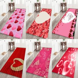 White 3d Rose Fabric Australia - Home Soft Water Absorbency Carpet 3D Rose Printed Flannel Fabric Area Rug for Valentine's Day Home Party Decoration