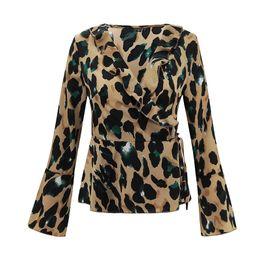 58ce1610d614 New Fashion Women Satin Blouse Leopard Print V Neck Long Flare Sleeve roupa  feminina Waist Belt Ladies Chiffon Shirt Tops