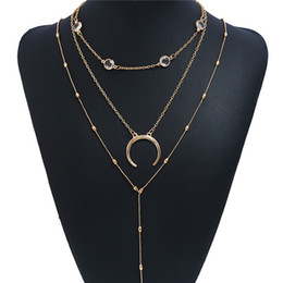 Wholesale Hot Fashion Woman angel wing necklace Gold plated Moon layer chain bar Necklace B Necklaces Jewelry