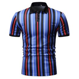men polo shirt stripe NZ - Vertical stripes Men Polo Shirt Short sleeve Polo Collar Summer Tops Fashion Business Social Shirt Men's Clothing T200528