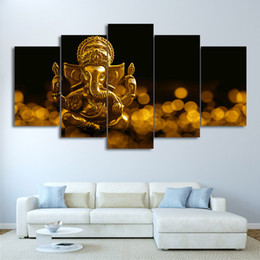 canvas prints free shipping NZ - 5 Panel HD Printed Canvas Prints Golden Hindu State Picture Canvas Print Wall Picture For Living Room Free Shipping