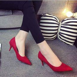 $enCountryForm.capitalKeyWord Australia - Women High Heels Pumps Flock Pointed Toe Wedding Shallow Mouth Women Pumps Ladies Shoes Thin High Heel Single Shoes W279
