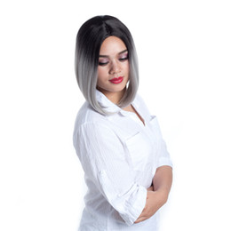 Color Bob Wigs UK - 5 Colors Ombre Bob Short Straight Hair Wigs Synthetic High Temperature Fiber Halloween Party Cosplay Wig for Women