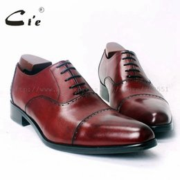 Wine Color Shoes Australia - cie Pointed Cap Toe 100%Genuine Calf Leather Outsole Breathable Dress Casual Handmade Men's Shoe Oxford Wine Color Flats OX364 #37026