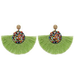 $enCountryForm.capitalKeyWord UK - 2019 New Fashion Multicolor Trend Exaggerated Rice Beads Round Earrings Bohemian Tassel Earrings Jewelry Alloy National Style Boutique Gift