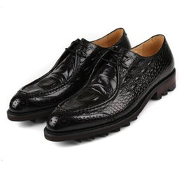 social shoe leather mens NZ - Crocodile Grain Black   Tan Platform Mens Wedding Dress Shoes Genuine Leather Social Business Shoes Male Prom Shoes
