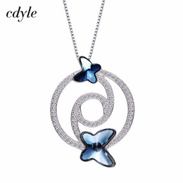 $enCountryForm.capitalKeyWord Australia - dhgate Crystals from Swarovski Necklace Women Pendants S925 Sterling Silver Jewelry Blue Series Fashion Elegant Jewelry