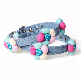 small dog collar flowers Australia - Lovely Pet Adjustable Pu Leather Collar For Small Medium Dogs With Colorful Cloth Soft Flowers Decoration Dog Products