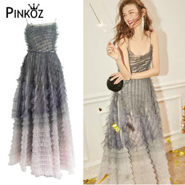 Discount elegant striped dresses for women Pinkoz Runway Designer Elegant Mesh Women Dress Sleeveless Spaghetti Strap High Waist Hit Color Ruffles Dresses For Fema