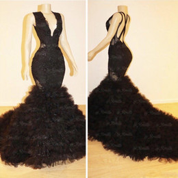 China 2019 Black Mermaid Ruffles Prom Party Dresses Custom Made Sexy Backless Criss Cross V-neck Sweep Train Evening Gowns Formal supplier cross back lace dress suppliers