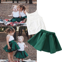 cute t shirt outfits Australia - New Summer Cute Children Toddler Kid Baby Girl Clothes Vest Top T-shirt Green Skirts Two Pieces Outfit Clothing Set