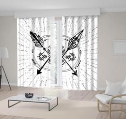 $enCountryForm.capitalKeyWord UK - Arrows Sunburst Rays Hipster Artwork Ancient Tribal Native Style Design Black and White Decorative Curtain