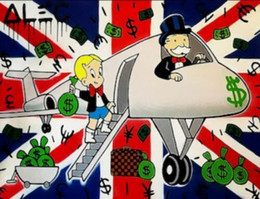 Airplane Art Australia - Alec Monopoly High Quality Handpainted & HD Print Abstract Graffiti Art Oil Painting UK Airplane On Canvas Wall Art Home Decor g85