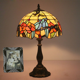 $enCountryForm.capitalKeyWord NZ - 12 Inch Vintage Living Room Table Lamp Handicraft Bedside Lamp Led Table Light Stained Glass Bedroom Lamp Lustre Classical free shipping