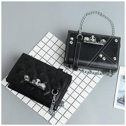 Discount free body girl - Black Designer Crossbody Bag Fashion Women Leisure Beads Skulls Patchwork Handbag Girls Chain PU Leather Luxury Bag Free
