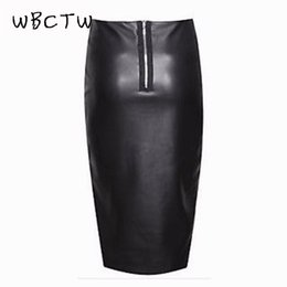 cd6ceb8aadaa WBCTW 2018 10XL Big Size Skirt Women Zipper PU Leather Pencil Black Skirt  High Waist Midi Length Sexy Bodycon Office Lady