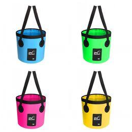 Pu bag material online shopping - Outdoor Fishing Bucket Collapsible Bag Waterproof Water Barrel Camping Tools Clip Net Material Yellow Pink Creative ba2 C1