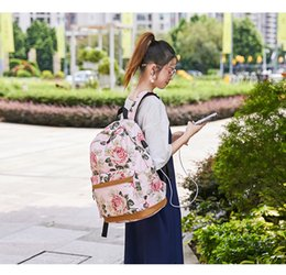 $enCountryForm.capitalKeyWord Australia - The new 2019 vintage printed canvas schoolbag female leisure cross-border outdoor backpack multi-function three-piece suit