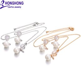 $enCountryForm.capitalKeyWord Australia - HONGHONG High-quality Cubic zirconia Pearl Earring Necklace Sets 2019 fashion Flowers Earrings pendant suit Jewelry Sets