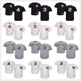 4287f6825 2018 custom Men s Women Youth Majestic NY New York Yankees Jersey  4 Lou  Gehrig 3 Babe Ruth 2 Derek Jeter home blue kids Baseball Jerseys
