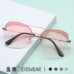 $enCountryForm.capitalKeyWord Australia - 2019 New Sunglasses Female Cat Eyes Retro Metal Hollow Frameless Sunglasses Cross-border Network Red with Glasses
