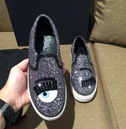 Wholesale Shoes Woman Loafers Leather Blink Eyelashes Eyes Bling Flats Outside Casual tenis feminino Loafers Shoes Woman zapatos de mujer