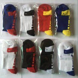 Wholesale striped athletic tube socks online – funny Socks Elite Basketball Socks Terry Towel Bottom Mid tube Sports Socks USA Professional Athletic Sock Breathable Football Run Hoisery D6478
