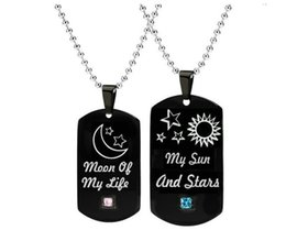 """Red Rectangle Pendant Australia - LL0503 Couples Necklace Black Color Rectangle Shape Stainless Steel Pendant Engraved """"my son and stars moon of my life"""""""