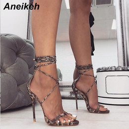 $enCountryForm.capitalKeyWord Australia - Aneikeh Fashion 2019 Summer Women's Sandals Pu Lace-up Thin High Heels Cover Heel Shallow Mature Serpentine Dance Solid 35-40 Y19070503