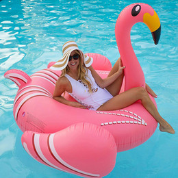 children ride toys 2019 - New 190CM 75 Inch Giant Inflatable Flamingo Pool Float pink Ride-On Swimming Ring Adults Children Baby Water Holiday Par