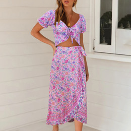 puff beach skirts Canada - Two Piece Set Top and Skirt 2020 Summer Vacation Women Floral Printed Bow Boho Beach Style Tops and Irregular Skirts Sets