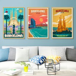 wall stickers canvas NZ - Europe Spain Art Travel Canvas Paintings Vintage Kraft Posters Coated Wall Stickers Home Decor Family Gift