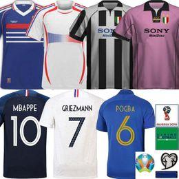 Retro 1997 1998 Taça Europeia ZIDANE MBAPPE HENRY Camisa de Futebol GRIEZMANN POGBA GIROUD Camisa 19 20 KANTE 100º aniversário Uniforme de futebol
