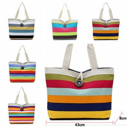 Stripe canvaS tote beach bagS online shopping - 11styles rainbow striped bag canvas bags shoulder bag Storage Bags female handbag Casual women Shopping beach tote FFA1867