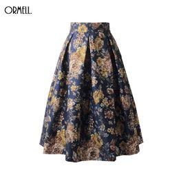 $enCountryForm.capitalKeyWord UK - Ormell 2019 Women Skirt Vintage Elegant Floral Print High Waist Ball Gown Female Pleated Midi Skirts A Line Skater Saias Y19043002