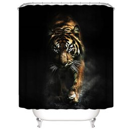portrait 3d UK - Customized Waterproof Cool fierce Tiger Bear boxer Shower Curtains 3D Digital Printing Bathroom Curtains With Rings