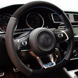 polo scirocco Australia - Top Leather Steering Wheel Hand-stitch on Wrap Cover For VolksWagen Golf 7 Golf R MK7 Polo Scirocco 2015-2016